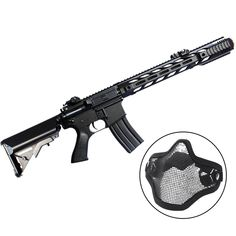 Rifle M4A1 Airsoft CYMA AEG Elétrico 400 FPS c/ Máscara Meia-Face - Preto Ref.:BJH-0151-006-01  Rifle de Airsoft M4A1 CM518 Black é um modelo da marca CYMA que acompanha magazine Hi-Cap, engrenagem e Gear box de metal. A Máscara Tática é totalmente respirável, devido ter Airsoft, Rifle, Guns, Roller Chain, Socks, Model, Black, Weapons Guns, Weapons
