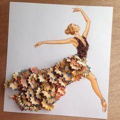bocetos de vestidos creados con comida                                                                                                                                                                                 Mais