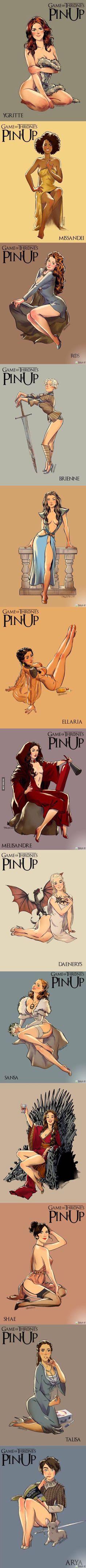Si las nenas de GOT fueran Pin Up Girls lucirían así..
