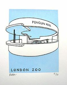 Penguin Pool At London Zoo Silk Screen Print