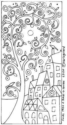 RUG HOOK PATTERN Swirl Tree 2 Birds & Houses KARLA G | eBay