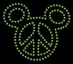 Mickey Mouse Peace Sign Rhinestone Transfer DIY Disney Handmade Bling