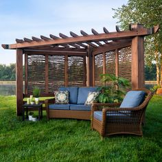 Incorporate a captivating update to your outdoors with this Backyard Discovery Haven All Cedar Triangular Cabana Pergola with Bamboo Privacy Panels. Outdoor Shade, Outdoor Pergola, Backyard Pergola, Backyard Landscaping, Pergola Ideas, Corner Pergola, Landscaping Ideas, Backyard Planters, Small Pergola
