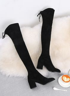 Cizme peste genunchi din piele stretch cu toc imbracat de 7.5 cm. Elegante si finute. Knee Boots, Shoes, Fashion, Moda, Zapatos, Shoes Outlet, Fashion Styles, Knee Boot, Shoe