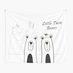 'Copy of Little Twin Bears' Tapestry by Melikar Tapestry Design, Wall Tapestry, Textile Prints, Textiles, Thing 1, All Print, Floor Pillows, Vivid Colors, Duvet Covers
