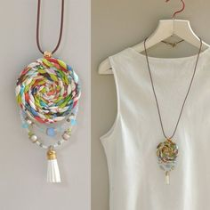 Items similar to Ecofriendly fabric pendant. braided pendant,boho jewelry on Etsy - - Items similar to Ecofriendly fabric pendant. braided pendant,boho jewelry on Etsy My jewelry Umweltfreundlicher Stoffanhänger. Diy Fabric Jewellery, Funky Jewelry, Textile Jewelry, Hippie Jewelry, Jewelry Crafts, Jewelry Art, Jewelry Design, Diy Earrings, Diy Necklace