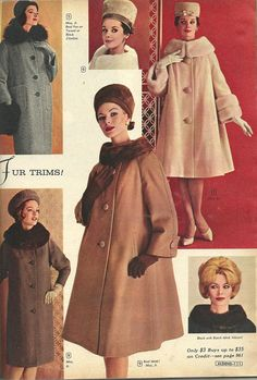 Aldens Fall & Winter 1962 I heart emoticon all these coats 60s And 70s Fashion, Retro Fashion, Vintage Fashion, Womens Fashion, Cheap Fashion, 1950s Style, Vintage Outfits, Vintage Dresses, 70s Mode