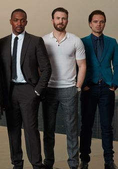 Anthony Mackie, Chris Evans, Sebastian Stan. [whoo, fans self]