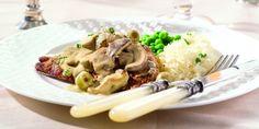 Boodschappen - Kalfslapjes met champignons in mosterdsaus