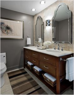 Bathroom With Gray Wall And Beige Tile Google Search