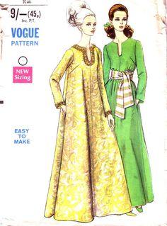 Vogue 7497 Caftan Pattern. Vintage 1960's sewing pattern £6.00 www.hurdyburdy.etsy.com