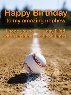 Baseball Happy Birthday Card for Nephew: Wish your amazing nephew a great birthday with this baseball greeting card. A game of a catch or a day at the batting cages might be everything your nephew most looks forward to on a day off! Send this fun birthday greeting card for a great nephew today. You can't go wrong when you celebrate his special day with a thoughtful birthday message and his favorite sport.