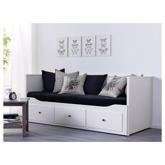 HEMNES Day-bed frame with 3 drawers - IKEA Four functions - sofa, single bed, double bed and storage solution. Ikea Ektorp Sofa, Ikea Hemnes Daybed, Hemnes Day Bed, Ikea Sofas, Ikea Sofa Bed, Futon Sofa, Cama Murphy Ikea, Day Bed Frame, Murphy Bed Plans