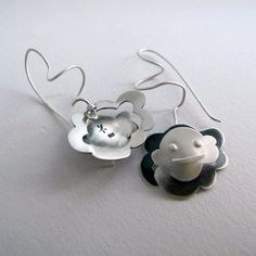 Silver Happy Clouds Earrings Weather Earrings by Jewellietta