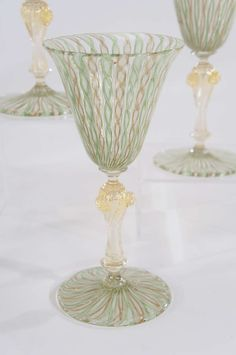 Twelve Handblown Salviati Latticino Goblets with Gold Leaf Inclusions   From a unique collection of antique and modern barware at https://www.1stdibs.com/furniture/dining-entertaining/barware/