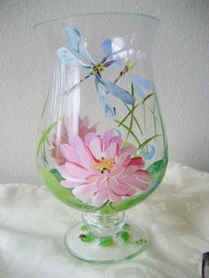 handpainted glass waterlily hurricane