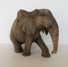 Vintage Solid Wood hand carved Elephant by jewelryandthings2