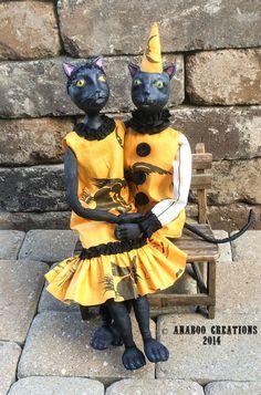OOAK Black Cat Purrcy in Vintage Halloween by AnabooCreations