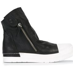 Cinzia Araia zipped lateral hi-tops ($561) ❤ liked on Polyvore featuring shoes, sneakers, black, zipper sneakers, black trainers, black leather high tops, black leather shoes and high top zipper sneakers