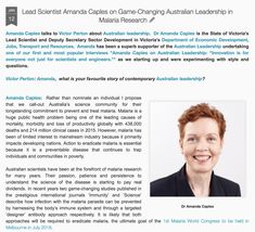 Lead Scientist Amanda Caples on Game-Changing Australian Leadership in Malaria Research