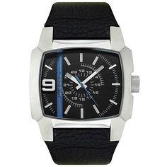 Diesel DZ1131 Men's Swiss Made Blue Accents Black Dial Leather Strap Quartz Watch