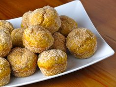 Baked Pumpkin Spice Donut Holes - Reduce oil to 1/4 cup, but increase pumpkin to 1 cup. Increase cinnamon to 2 tsp, nutmeg to 1 tsp, and substitute 1/2 tsp ginger for the ground cloves. Can be adapted to allergen friendly recipe by using gluten free flour mix and a flax egg.
