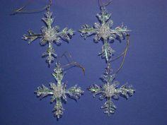 SET OF 4 SPUN GLASS SNOWFLAKE CHRISTMAS ORNAMENTS~NEW Glass Ornaments, Christmas Ornaments, Snowflakes, Snow Flakes, Christmas Jewelry, Christmas Decorations, Christmas Decor