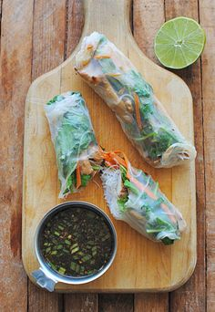 Garlic Chicken Spring Rolls..very garlicky and very yummy!  I added a little extra brown sugar to the chicken...it got a little overly soy tasting for me.  Rice paper was a little tricky to work with but amazing how much better it tastes when you make it fresh!  06/2013