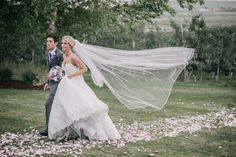 long veil vail wedding walking blowing in the wind Matt Shumate Photography