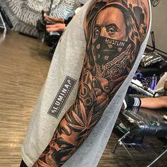 So much fun do this piece at , no edit, no effect 😊🙏 Portrait Tattoo Sleeve, Chicano Tattoos Sleeve, Forarm Tattoos, Forearm Sleeve Tattoos, Dope Tattoos, Best Sleeve Tattoos, Tattoo Sleeve Designs, Skull Tattoos, Leg Tattoos