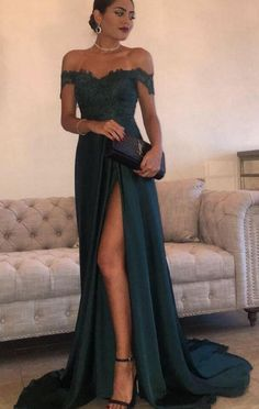 Elegant Dark Green Evening Gowns Off-the-Shoulder Side Split Prom Dresses green off the shoulder A-line prom dresses, Buy high quality discount formal dresses from Yesbabyonline. Shipping worldwide, custom made all sizes & colors.