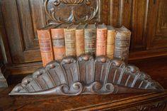 Antique French Carved Oak Pediment Mount Shell Design Ornate Wood Hardware Repurpose by VintageFleaFinds on Etsy