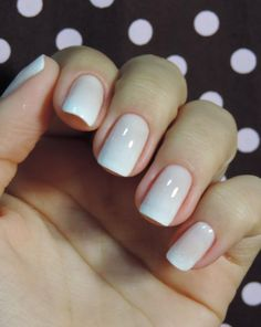 French ombré nails. THIS is the ONLY way you should do ombré... on your nails (with very neutral and nude colors), not on your hair. Other designs and flashy colors tend to look tacky.