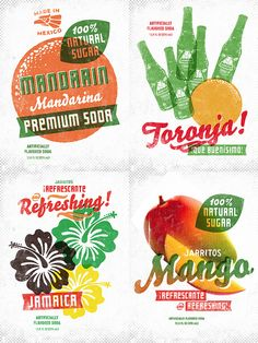 Advertising for Mexican sodas created by illustrator Simon Walker. His site has a lot of great vintage-looking logos and typefaces.