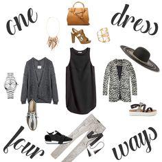 Een LBD hoort ieder vrouw in haar klaarkast te hebben, je kan ze op meerdere manieren dragen!   •Little Black Dress – H&M •High heels, Bruno Premi – Torfs •Handtas, Fiorelli - Tims •Armcuff – Six •Ketting – Six •Bernadette, Essentiel – Trent •Horloge, Balmain – Jan Maes •Veterschoen – Tamaris •Broek, Maison Scotch – Inno •Sneakers – Sacha •Gevlochten riem – H&M •Blazer, Maison Scotch – Trent •Hoed – C&A •Sandalen - Sacha