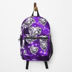 Purple Sparkle, Diamond Heart, Fashion Backpack, Clutches, Traveling By Yourself, Hearts, Backpacks, Printed, Awesome