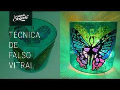 🌸Técnica de Falso Vitral sobre Vidrio - YouTube Diy Lampe, Make A Lamp, Shot Glass, Decoupage, Diy Crafts, Crafty, Bottle, How To Make, Painting