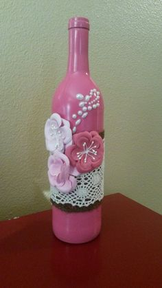 Beatifully decorated wine bottle in Home & Garden, Home Décor, Bottles | eBay