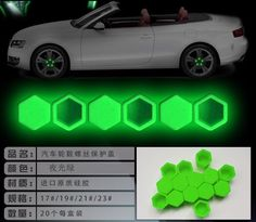 Car Styling Bolt Caps 20pcs Silica Gel green
