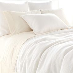 Pine Cone Hill | Stone Washed Linen White Duvet Cover