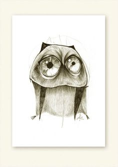 Owl Big Eyes Print A5 Sepia by 56dollarsforbeancake on Etsy, $13.50