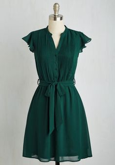 Thesis, That, and the Other Thing Dress in Teal - Green, Solid, Daytime Party, A-line, Short Sleeves, Fall, Woven, Good, Mid-length
