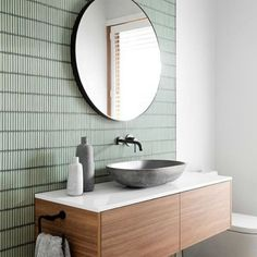Major tile envy today with this bathroom from gia_renovations At Amber Seaforth we have a huge range of Kit Kat tiles, basins and tapeware in store ready for you to design the bathroom of your dreams! Pop in today! Contemporary Bathrooms, Modern Bathroom Design, Bathroom Interior Design, Contemporary Tile, Bathroom Designs, Bad Inspiration, Bathroom Inspiration, Bathroom Faucets, Small Bathroom