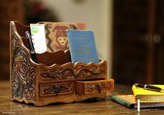 Leather letter holder, 'Songbirds'. Shop from #UNICEFMarket and help save the lives of children around the world.