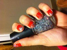 Coral nail polish with a silver sparkle ombré. So fun for this dreary season! Coral Nail Polish, Coral Nails, Sparkle, Fun, Silver, Hilarious, Money