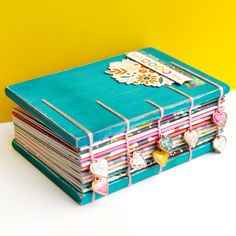 I made another coptic book! What can I say, it's an addicting craft! This time I used my new Oh My Heart collection which should be revea. Diy Notebook, Handmade Notebook, Handmade Journals, Handmade Books, Diy Craft Journal, Bookbinding Tutorial, Oh My Heart, Altered Book Art, Fabric Journals