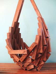 70s Abstract Wood hanging basket Plant Holder