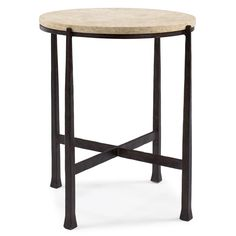 Norfolk Industrial Loft Round Metal Stone Patio End Table