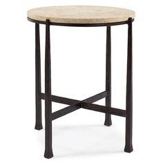 Norfolk Industrial Loft Round Metal Stone Patio End Table