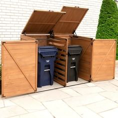 Leisure Season x x Large Horizontal Trash and Recycling Storage Shed, Browns / Tans Trash Can Storage Outdoor, Garbage Can Storage, Garbage Shed, Outdoor Storage Sheds, Shed Storage, Storage Bins, Outdoor Trash Cans, Patio Storage, Under Deck Storage